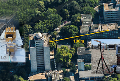 The 100m distance between the Fraunhofer Heinrich-Hertz-Institute and the Berlin Institute of Technology shown from above.