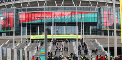An image of new LED facade erected at the Wembley stadium (Day)