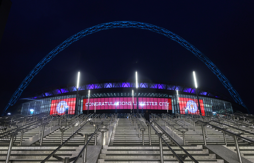 An image of new LED facade erected at the Wembley stadium (Night/Front view)