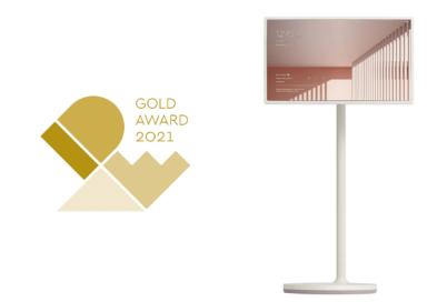 'IDEA Gold Award 2021' logo and the front view of LG StanbyME