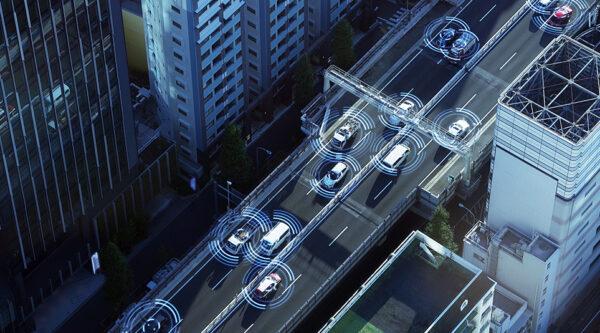 A road full of cars using sensor technology.