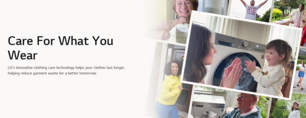 A promotional image of the Care for What You Wear campaign with a mother playing with her child in front of LG washer.
