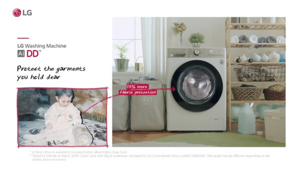 """The """"Care for What You Wear"""" campaign video with LG washer taking care of precious old baby garments."""