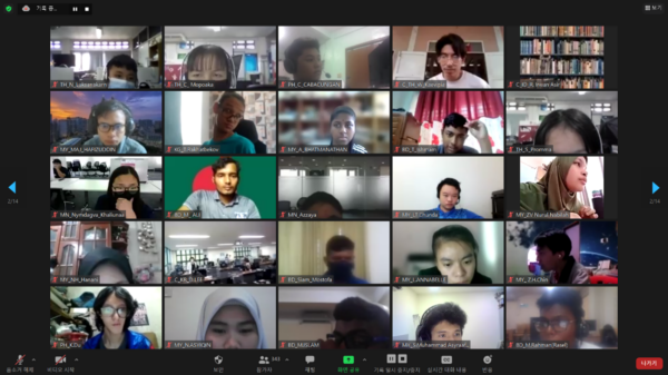 Screenshot of students from all over the world participating in 2021 GITC via Zoom