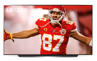 Image of Travis Kelce, Kansas City Chiefs' tight end, celebrating a touchdown displayed on an LG OLED TV.