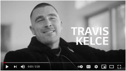 A screenshot from LG's YouTube video featuring Kansas City Chiefs' Travis Kelce.