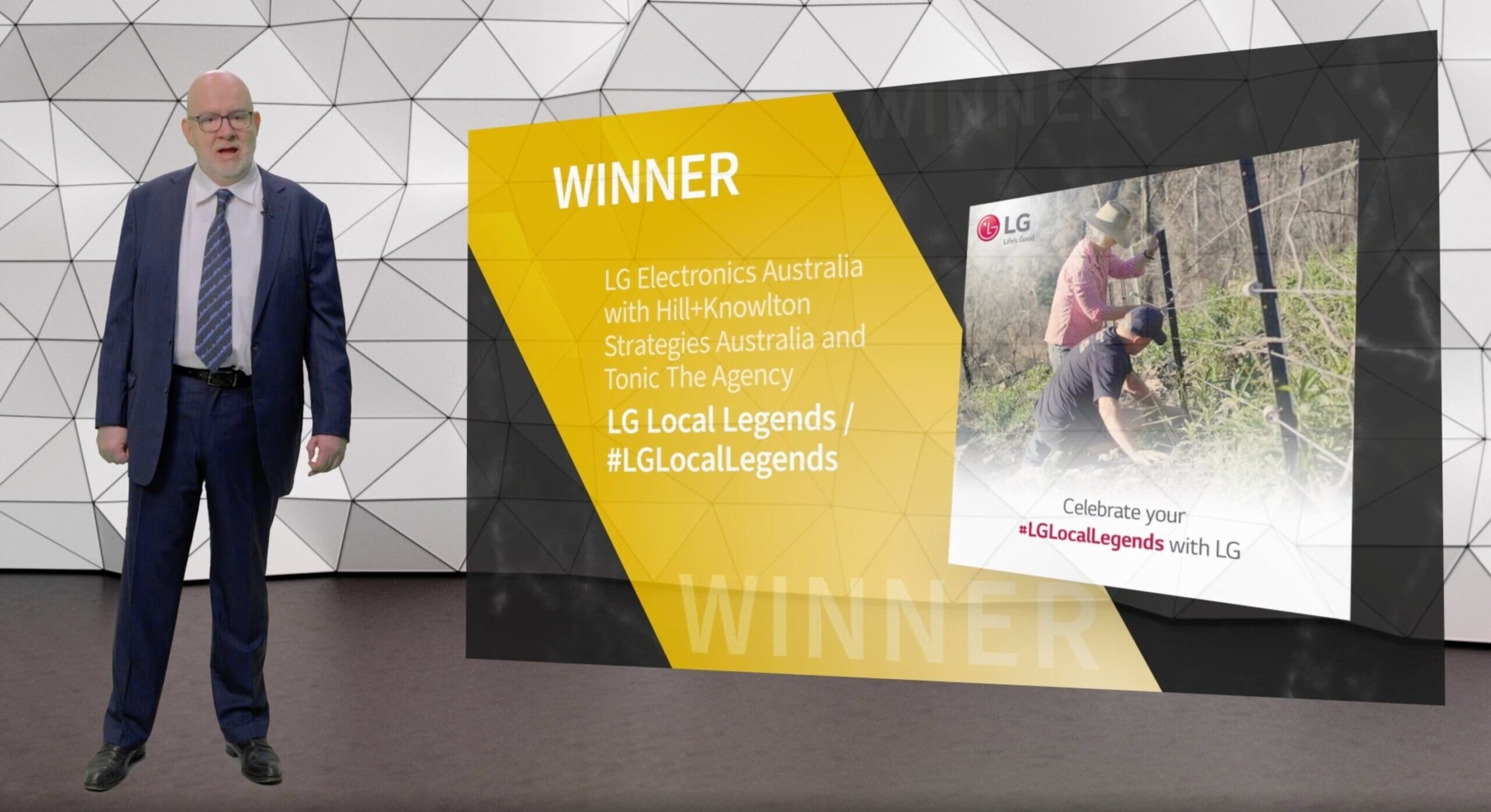 The LG Local Legends program being announced as winner of the Diamond SABRE Award for Superior Achievement in Reputation Management.