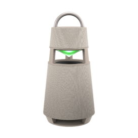 LG's beige XBOOM 360 speaker emitting green mood lighting from its hollow section