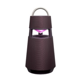 LG's burgundy XBOOM 360 speaker emitting pink mood lighting from its hollow section
