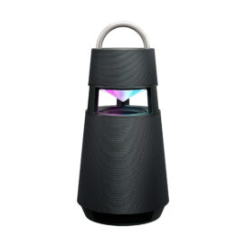 LG's charcoal black XBOOM 360 speaker emitting mixed mood lighting from its hollow section