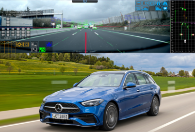 A Mercedes-Benz demonstrating how LG's ADAS system works.