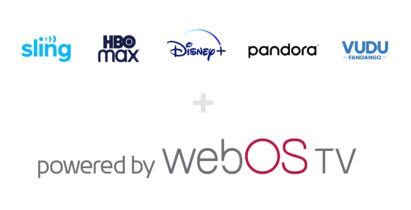 The 'powered by webOS TV' logo below the logos of popular global streaming services coming to the TVs